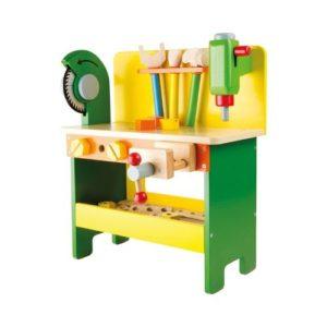 Mesa de bricolaje con herramientas de madera de Small Foot Company. Juguetes ecológicos