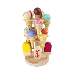 Mostrador con helados de madera para jugar. Juguete ecológico de Small Foot Company