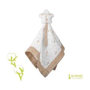 Doudou manta Sophie la jirafa en tela orgánica y ecológica. Regalo para babyshower