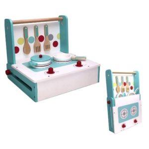 Cocina portátil y plegable de juguete en madera ecológica