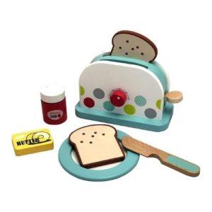 Tostadora y alimentos juguete de madera ecológica