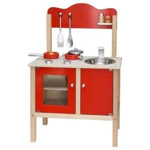Cocina de juguete en color rojo de Viga fabricada con materiales ecológicos