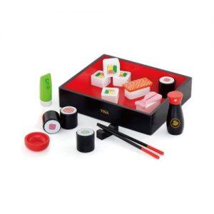 Set de sushi de juguete en madera para niños de Viga. Juguetes ecológicos
