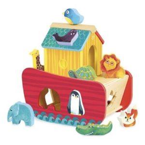Juego ecológico de encajar piezas de madera inspirado en el Arca de Noé de la marca Vilac