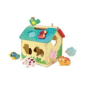 Juego ecológico de encajar piezas de animales en una casa de madera de Vilac