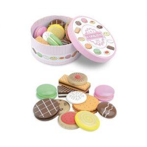 Caja de galletas y dulces de madera para jugar a las cocinitas