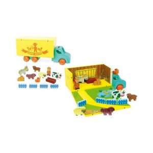 Camión de madera con granja de animales en madera de Vilac. Juegos ecológicos