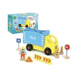 Camión de juguete en madera con accesorios. Juguetes ecológicos