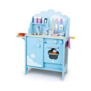Cocina de madera infantil Vilac con decoración de nubles. Juguete ecológico