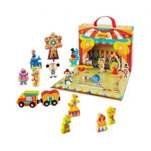 Maletín de circo con accesorios de madera para niños de Woomax. Juego ecológico