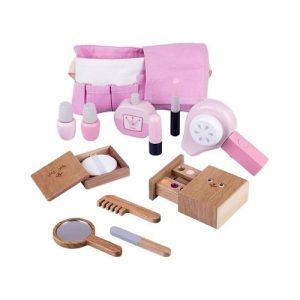 Set de maquillaje y peluquería infantil en madera ecológico