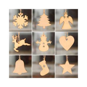Adornos de madera para árbol de Navidad para colorear. Manualidades fáciles para Navidad