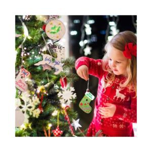 Adornos de madera para árbol de Navidad. Manualidades de Navidad para niños ecológicas