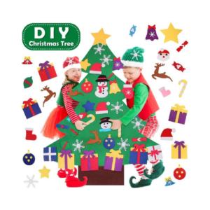 Árbol de Navidad de tela de fieltro para adornar. Juguete DIY de Navidad para niños