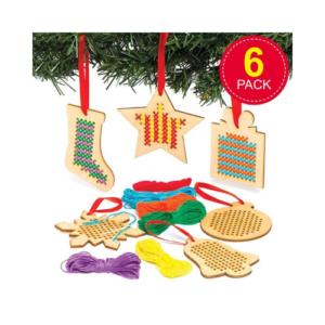 Kit de costura en punto de cruz para crear adornos navideños para el árbol de Navidad. Manualidades para navidad de Baker Ross