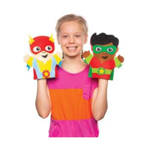 Kit de costura para hacer marionetas de superhéroes de fieltro . Manualidades de Navidad para niños ecológicas