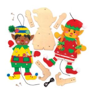 Kit de marionetas navideñas de madera para ensamblar de Baker Ross. Manualidades de Navidad para niños