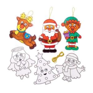 Manualidades para niños en Navidad de Baker Ross. Adornos de cristal, atrapasoles para colorear