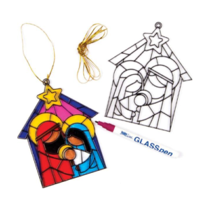 Manualidades para Navidad de Baker Ross. Llaveros de cristal para colorear con temática de Belén