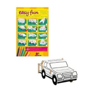 Coche de policía de cartón para ensamblar y pintar de Calafant. Juguete ecológico de cartón para niños. Manualidades
