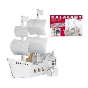 Barco pirata para pintar de Calafant en cartón. Manualidades ecológicas