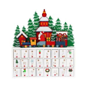 Calendario de adviento en madera con paisaje navideño y cajones numerados