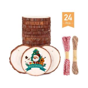Discos de madera para decorar el árbol de Navidad. Manualidades de Navidad para niños