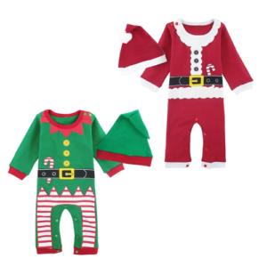 Disfraz para bebé de elfo y Papa Noel o Santa Claus. Disfraz de algodón navideño para babyshower