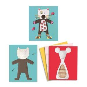 Juego de manualidades de collage infantil con cartón de Djeco. Juguete ecológico