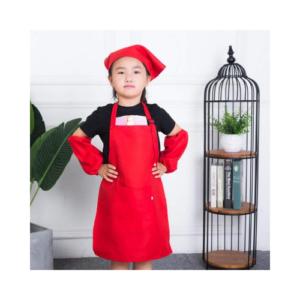 Delantal mandil infantil en rojo con gorro y mangas de Dokpav