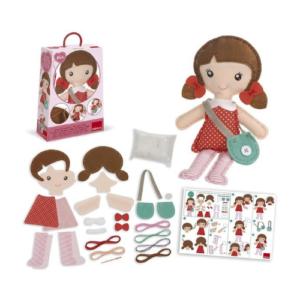 Kit de costura para confeccionar una muñeca de tela de fieltro de la marca Goula. Manualidades de Navidad para niños ecológicas