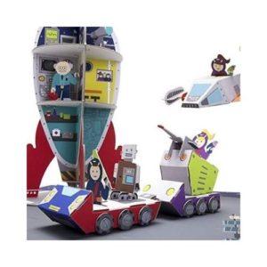 Playset de misión espacial en cartón con naves y cohetes para ensamblar. Vehículos de cartón ecológico