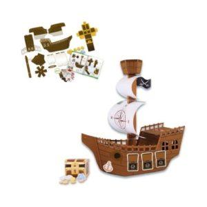Barco pirata de cartón para ensamblar de Lena. Juguete ecológico de manualidades