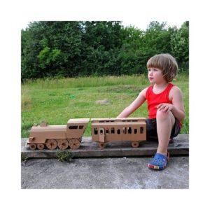Locomotora de cartón para montar y pintar de Leolandia. Juguete ecológico infantil