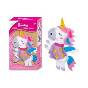 Kit de costura para coser un unicornio en fieltro. Manualidades de Navidad para niños ecológicas