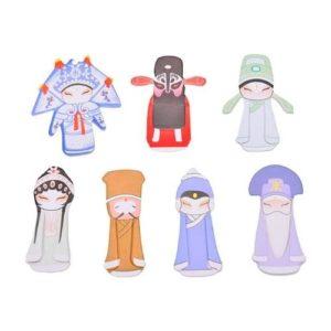 Marcapáginas de papel con figuras chinas