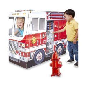 Camión de bomberos de cartón para montar de Melissa & Doug para niños. Vehículos de cartón ecológico