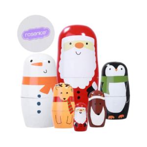 Muñecas rusas de Navidad en madera con personajes como Papa Noel, muñeco de nieve, pinguino,... Regalo y decoración para Navidad