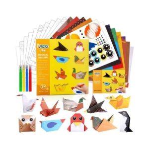 Juego de origami con instrucciones, papel, pegatinas y lápices de colores