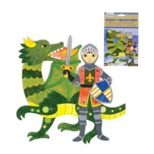 Figura articulada de cartón con forma de caballero medieval y dragón de Petit Collage. Juguete ecológico