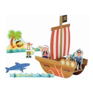 Playset de piratas de Petit Collage en cartón reciclado. Vehículos de cartón ecológico