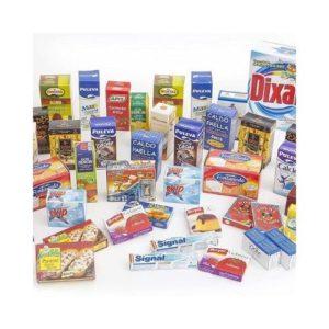 Cajas de alimentos y comida para jugar a las cocinas o tiendas. Juguete ecológico de cartón