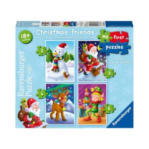 Puzzles progresivos de Ravensburguer con temática navideña. Rompecabezas con ilustraciones de Papá Noel, muñeco de nieve, elfo y reno