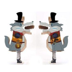 Disfraz de lobo feroz en cartón corrugado para pintar. Juguete ecológico