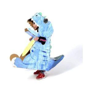 Disfraz de dinosaurio T-Rex en cartón corrugado para niños. Juguete ecológico