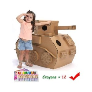 Tanque militar de cartón corrugado para ensamblar y pintar. Juguete ecológico infantil