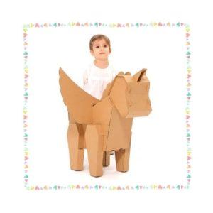 Unicornio de cartón para ensamblar y pintar. Juguete ecológico infantil