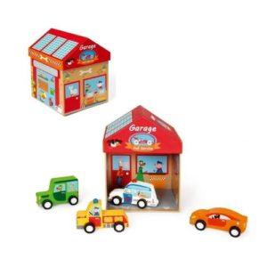 Caja de cartón con escenario para coches de madera de Scratch. Juguete ecológico de cartón