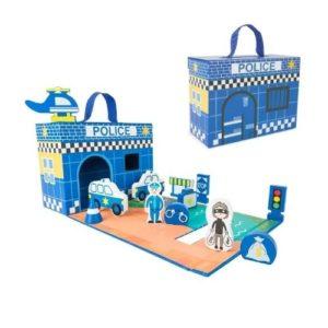 Maleta de cartón de comisaría de policía con figuras de madera de Small Foot Company. Juguete ecológico