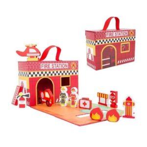 Maletín de estación de bomberos de Small Foot Company. Juguete ecológico con figuras de madera